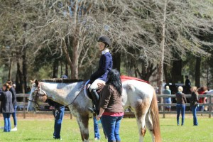 Coral coaching a student at a horse show.